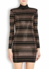 BALMAIN Striped crystal-embellished jersey mini dress ~ designer dresses ~ luxury occasion wear ~ evening fashion