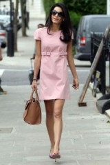 Love this little pink shift dress on Amal Clooney ~ street style chic ~ stylish celebrities ~ celebrity fashion
