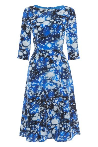 Tabitha Webb Meg Space Print dress – as worn by The Duchess of Cambridgeat at BAFTA in London's Piccadilly, 26 October 2015. Celebrity fashion | designer fit and flare dresses | royal outfits | Kate Middleton style - flipped