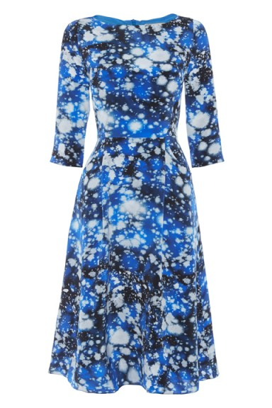 Tabitha Webb Meg Space Print dress – as worn by The Duchess of Cambridgeat at BAFTA in London's Piccadilly, 26 October 2015. Celebrity fashion | designer fit and flare dresses | royal outfits | Kate Middleton style