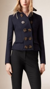 Burberry Prorsum TAILORED WOOL SILK JACKET navy. Designer fitted jackets – cropped style – quality outerwear – smart fashion