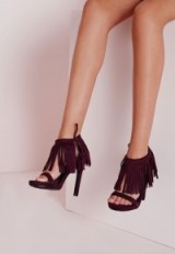 Missguided tassel ankle strap heeled sandals purple – tassels – tasseled footwear – party shoes – evening high heels – going out glamour