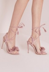 Missguided tassel detail barely there heeled sandals pink – strappy sandal – pretty party shoes – parties – evening footwear – high heels – going out glamour
