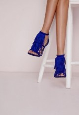 Missguided tassel front barely there heeled sandals cobalt blue – tasseled high heels – going out glamour – parties – party shoes – tassels – evening footwear