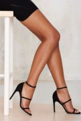 The Mode Collective – Triple Threat Suede Heel black. Evening shoes – party high heels – going out footwear – strappy