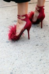 j'adore ~ red strappy heels with feathers!