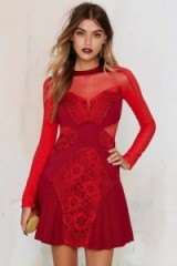 Three Floor – Lady in Waiting net mesh dress red. Long sleeved party dresses – evening fashion – occasion wear