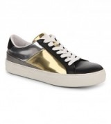 TODS Sportivo allac metallic-leather trainers – womens designer sports shoes – gold & silver metallics – sports luxe
