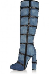 Patchwork denim and leather knee boots – as worn by Kylie Jenner out in Calabasas, California, 30 October 2015. Celebrity fashion | star style | designer knee high boots | what celebrities wear
