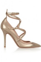 VALENTINO Love Latch eyelet-embellished metallic leather pumps. Designer footwear | luxe high heels | strappy stiletto heeled shoes | pointy toe