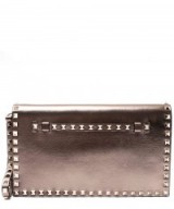 VALENTINO GOLD-TONE METALLIC ROCKSTUD LEATHER CLUTCH BAG – gold metallics – designer evening bags – studded handbags