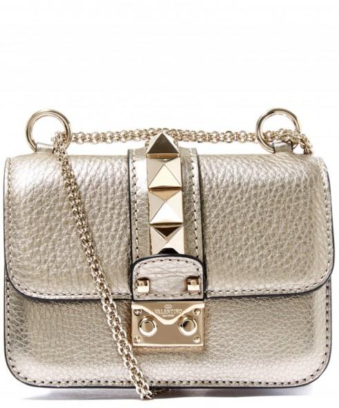 Valentino Mini Silver Tone Lock Leather Bag Metallic Handbags Metallics Designer