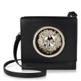 Versus Versace Lion Head Decorated Shoulder Bag in black. Designer handbags | embellished bags