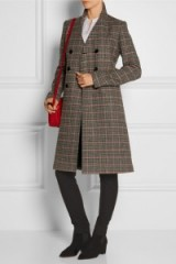 VICTORIA BECKHAM Double-breasted checked wool coat – as worn by Victoria Beckham at Lax airport, 26 October 2015. Celebrity fashion | star style | what celebrities wear | designer coats