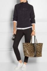VICTORIA BECKHAM Leopard-print calf hair tote. Glamorous shoppers – animal print bags – designer handbags