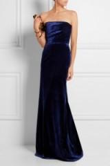 VICTORIA BECKHAM strapless velvet gown – as worn by Cheryl Fernandez-Versini at the 2015 Pride Of Britain Awards. Celebrity fashion | star style | designer gowns | what celebrities wear | Cheryl Cole