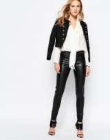 Vila PU Skinny Trousers in black. Leather look pants | womens faux leather bottoms