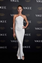 French model Constance Jablonski looking elegant in an ivory sheath gown, October 3, 2015 – Vogue 95th Anniversary Party Arrivals at PFW s/s 2016. Best looks / celebrity style / Paris fashion events