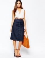Warehouse Midi A Line Skirt. Denim skirts | 70s style fashion | dark blue denim