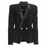 BALMAIN Wool-blend jacket black ~ structured designer jackets ~ tailored fashion ~ womens blazers ~ fluffy texure