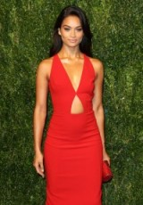 Shanina Shaik wearing a red fitted cut out dress, attends the God's Love We Deliver, Golden Heart Awards in New York, Oct 2015. Celebrity style | red carpet fashion | events
