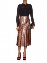 GUCCI Zigzag woven pleated silk-blend skirt – metallic midi skirts – bronze metallics