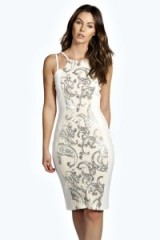 boohoo.com Zoe Sequin Panel Midi Dress nude. boohoo party dresses ~ going out glamour ~ evening fashion
