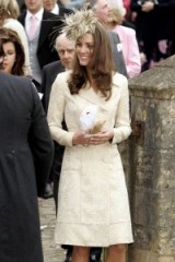 Kate Middleton attending a wedding in 2006 wearing a cream coatdress & feathered fascinator ~ Catherine Duchess of Cambridge ~ royal fashion ~ Kate's style ~ outfits ~ royalty