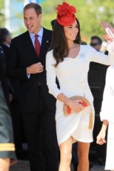 Catherine Duchess of Cambridge looked lovely visiting Canada in 2011, wearing a white wrap style dress from Reiss, a red hat embellished with maple leaves and a red & tan clutch in the shape of a fan ~ Kate Middleton style ~ royal fashion ~ royalty ~ Kate's outfits