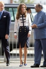 Catherine Duchess of Cambridge wearing an Alexander McQueen military style blouse & skirt in Aug 2011 ~ Kate's style ~ Kate Middleton ~ royalty ~ royal fashion ~ outfits