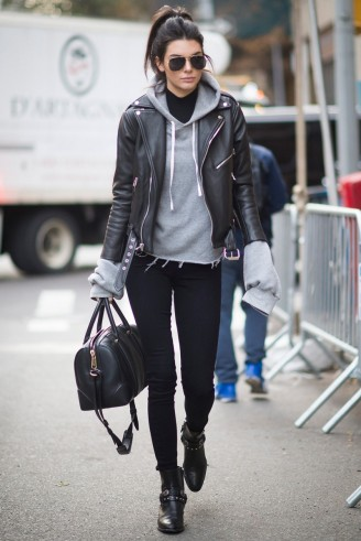 Kendall Jenner Street Style Grey Hooded Sweat Top Black