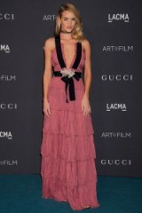 Rosie Huntington-Whiteley looked a dream in this rose pink plunging Gucci gown at the LACMA Art & Film Gala, presented by Gucci, 7 November 2015. Celebrity fashion | star style | tiered gowns | what celebrities wear to events | Los Angeles County Museum of Art