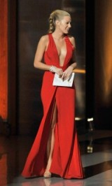 Blake Lively red gown ~ Hollywood glamour ~ low cut gowns