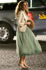 Carrie out in Paris wearing a mint green layered tulle skirt ~ SATC fashion ~ Carrie Bradshaw style