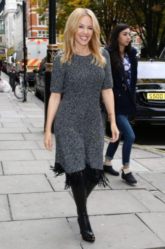 Kylie Minogue Looking Lovely Out In London Arriving At The Magic R