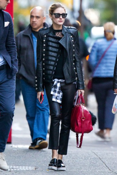 Olivia Palermo Street Style Wearing A Black Leather Military Style