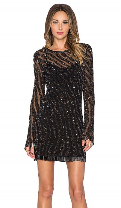 DEBY DEBO – Devon Black Embellished Dress covered in sequins & a fringe bead detail ~ semi sheer party dresses ~ special occasion fashion ~ sequins & beads ~ evening glitz and glamour