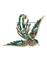 M&S Collection Green Diamanté Mocking Bird Brooch. Brooches / birds / fashion jewellery / accessories / Marks and Spencer