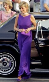 Princess Diana stunning in a long purple gown & matching accessories ~ royal fashion ~ royalty ~ Diana's style ~ gowns