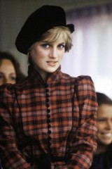 Princess Diana in a tartan dress and black hat at the Braemar Highland Games in Scotland, September 1981 ~ Diana's style ~ royalty ~ royal fashion ~ hats
