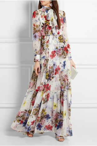 ERDEM Denise floral-print silk-chiffon gown ~ floral gowns ~ luxury occasion dresses ~ long evening wear ~ feminine and elegant style ~ luxury designer fashion