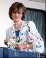 Princess Diana aboard Britannia on her Honeymoon in 1981, wearing a white floral silk suit designed by Donald Campbell. Diana's style ~ royal fashion ~ royalty