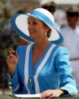 Princess Diana in Cairo, Egypt, wearing a blue & white Catherine Walker suit with large gold buttons & a Philip Somerville wide brim hat, February 1992 ~ Diana's style ~ royalty ~ royal fashion ~ hats