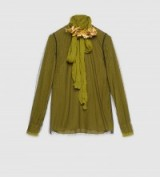 GUCCI olive green layered silk shirt with a detachable black net tulle overlay
