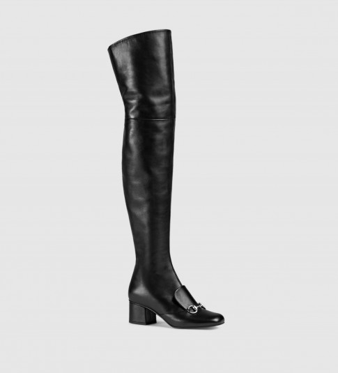 GUCCI black leather over-the-knee horsebit boot