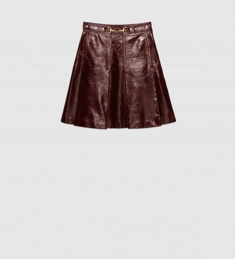 GUCCI – light patent dark brown leather pleated mini skirt w ...