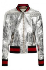 GUCCI silver metallic leather bomber jacket