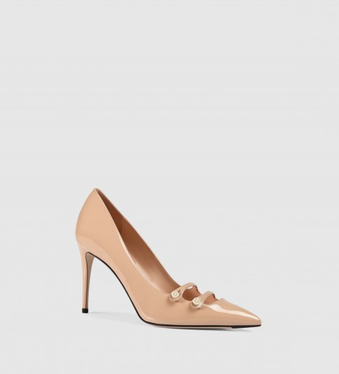 GUCCI blush pink patent leather high heel pump with mother of pearl buttons and pointed toe