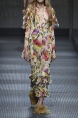 GUCCI floral printed silk-chiffon dress with tiered ruffles
