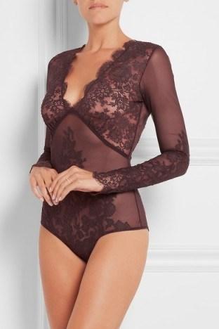 I.D. SARRIERI Chantilly lace and stretch-tulle bodysuit ~ luxury bodysuits ~ designer lingerie ~ feminine ~ scalloped edges ~ underwear - flipped